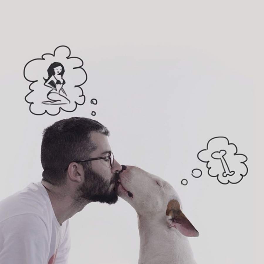 Rafael Mantesso with his Bull Terrier Jimmy (Photo: rafaelmantesso / Instagram)