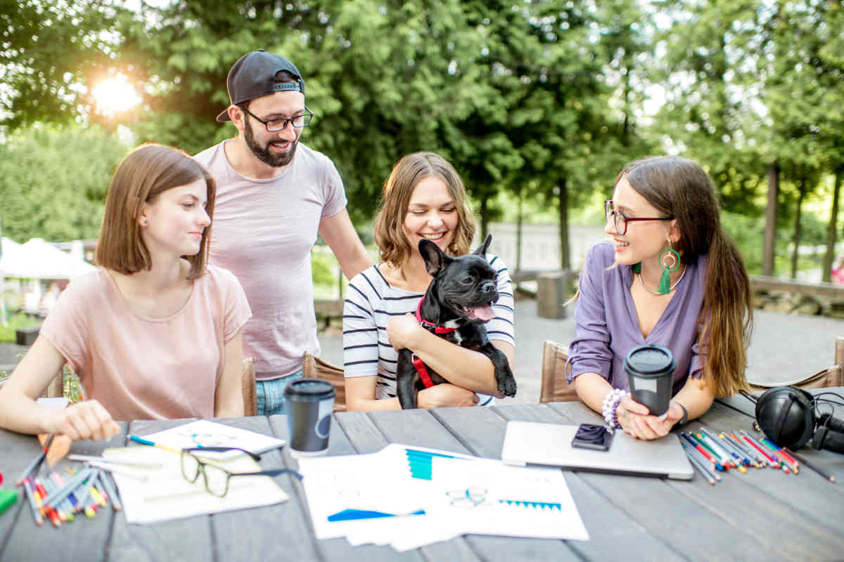 Students chat and work while cuddling dog (Photo: Adobe Stock)